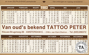 Sticker calendar from Tattoo Peter in Amsterdam, 1984