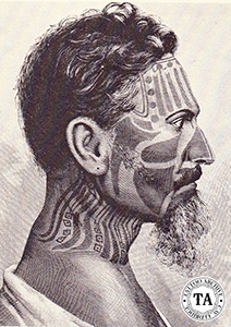 Man showing Easter Island tattoos