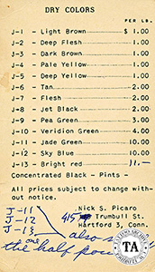 Pigment price list, 1950s, Nick Picaro Collection