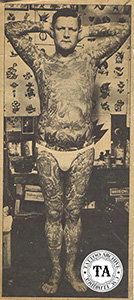 "Tommy Lee was tattooed in the 1920s by his wife Millie Hull. Often billed as ""The Living Bible"" because of the 400 religious designs tattooed on his body."